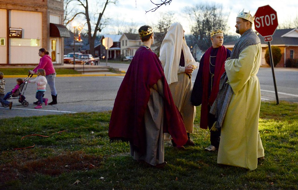 XIAOJIE OUYANG/MISSOURIAN  Will Mustain, left, Mark Mustain, Brett Fuller and Mike Fuller chats with each other before the start of the living Nativity event in Centralia, Saturday, Dec. 15, 2012. All of them will play as part of King Herod's court at the event.