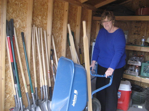 Cathy Eden in the well stocked shed.