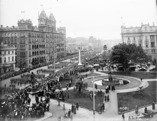 Peace celebrations in Spring Street, Melbourne
