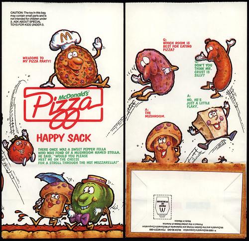McDonald's - McDonald's Pizza Happy Sack - McPizza Happy Meal test market bag - 1989