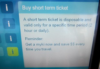 Myki vending machine: blurb about short term tickets