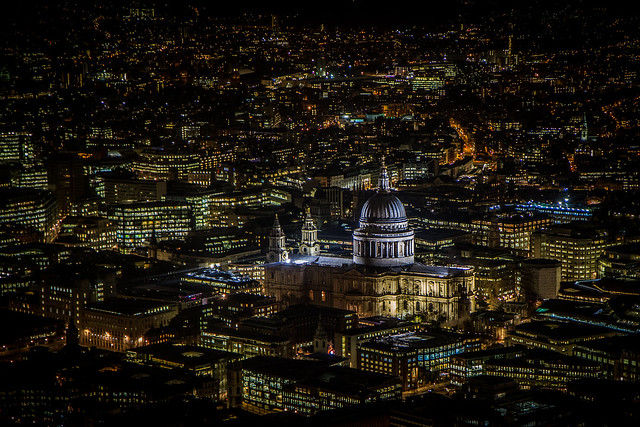 The Pixels and St Paul's - St Paul's Cathedral and London at night, viewed from The Shard