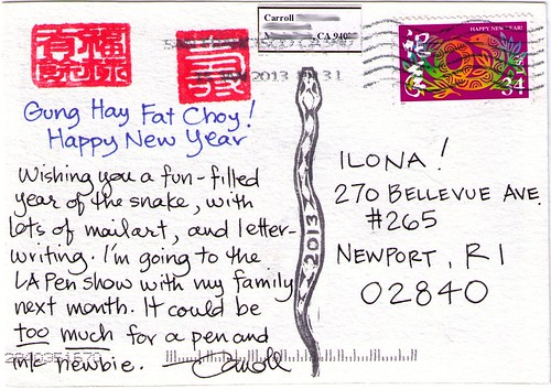 2013 year of the snake postcard back