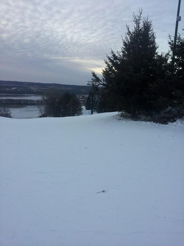 snow at ski chalet