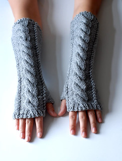 image of hands/arms in knitted fingerless mittens