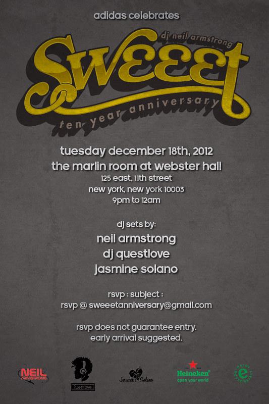 Dec 18th - 10 Year Anniversary of Sweeet w/ DJ questlove, <a href=