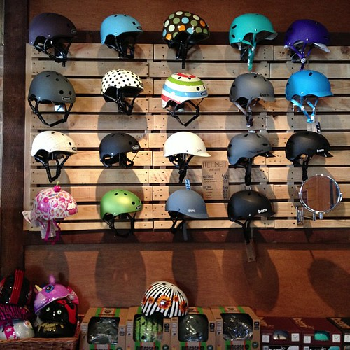 Our helmet display. @sahnhelmets @bernunlimited @nutcasehelmets @raskullz