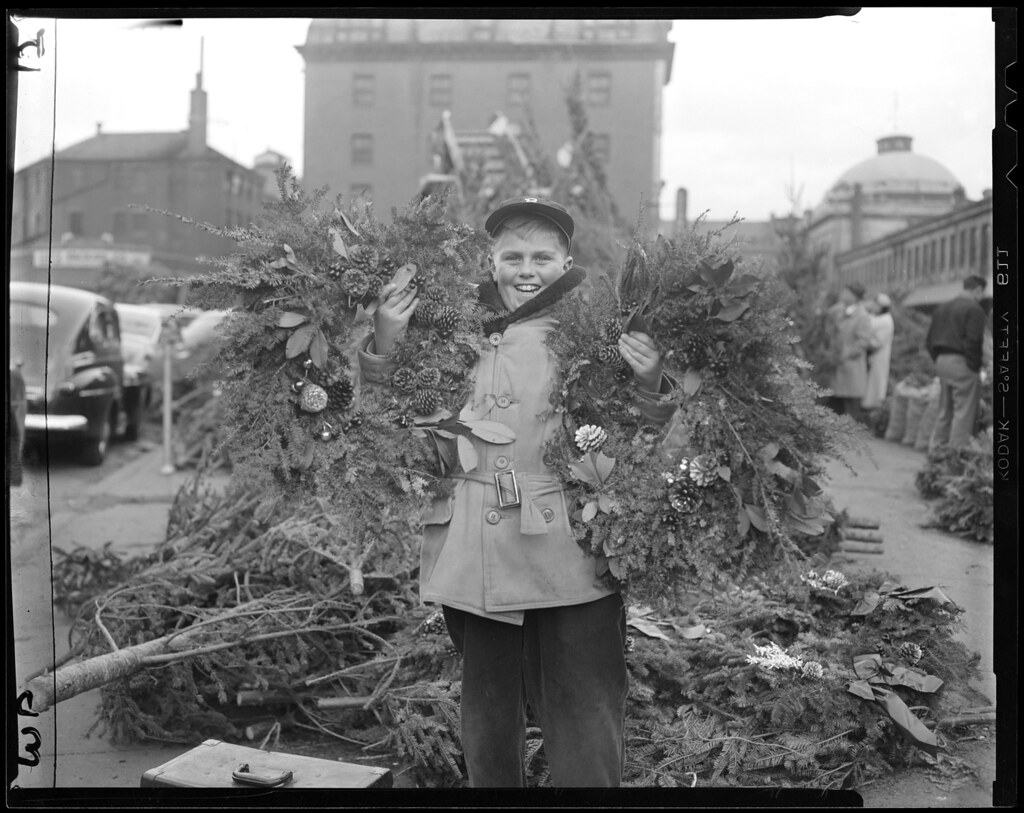 Selling wreaths at Quincy Market