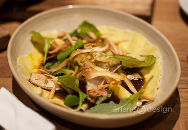 Forage/Bison tongue ravioli, cress, crispy parsnip, grilled matsutake, braising jus