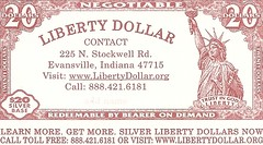 Liberty Dollar distributor card