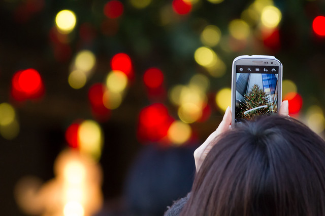 Taking a photo of Christmas tree