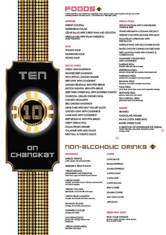 ten on changkat - menu