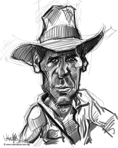 digital caricature sketch study 3 of Harrison Ford