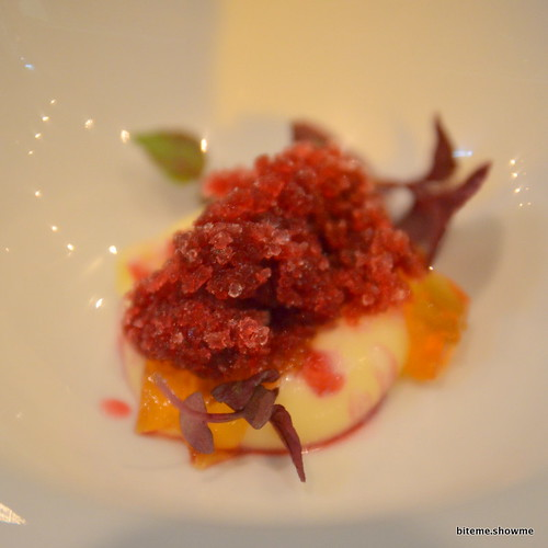 Sepia - white chocolate and ginger cream, caramel and leek jelly with carrot and hibiscus granita