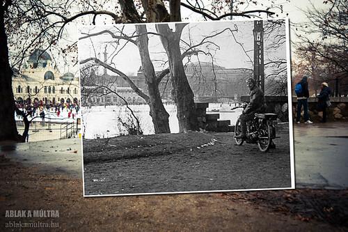 Budapest, XIV. Városligeti Műjégpálya a Vajdahunyad vár felől fortepan_20142
