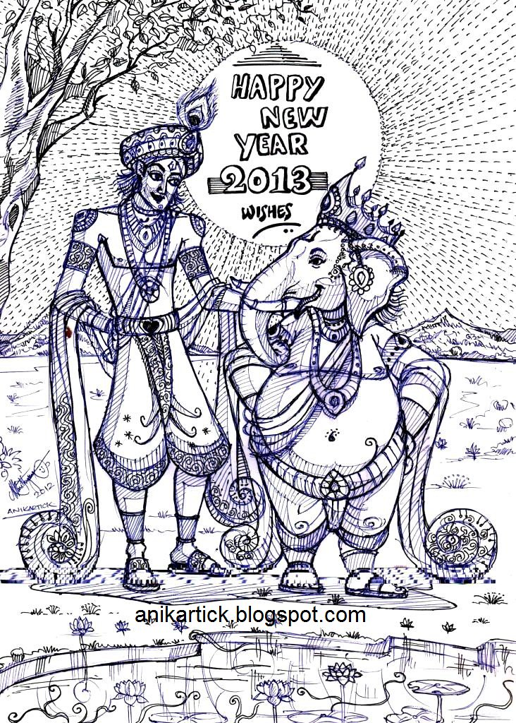 happy new year 2013 wishes from krishna aur ganesha the legends of indian mythology have