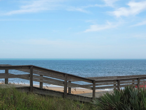ocean wood bridge blue vacation sky green beach water beautiful clouds outdoors ramp florida sunny walkway a1a