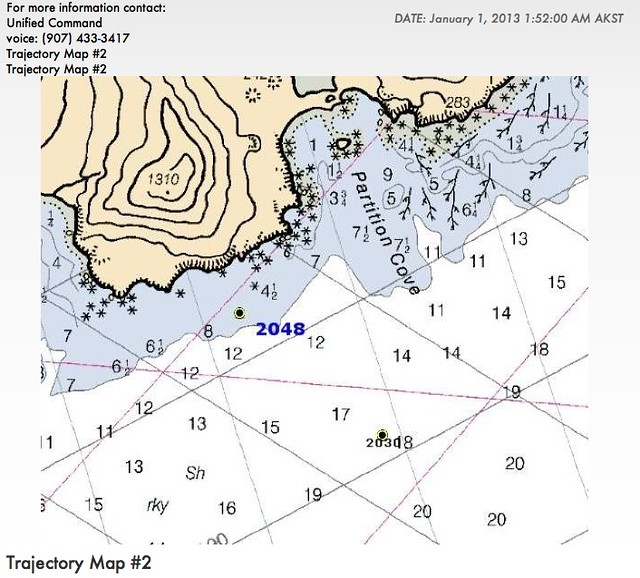 Shell's reported position of Kulluk aground