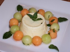 Ricotta Gelato with minted Melon Pearls in Sambucus Syrup