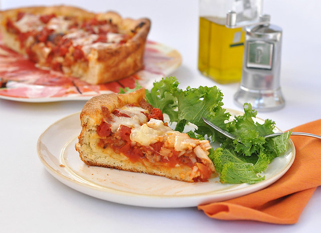 Deep Dish Pizza with Sausage