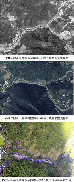 小天祥峽谷今昔空照對比(李光中提供)