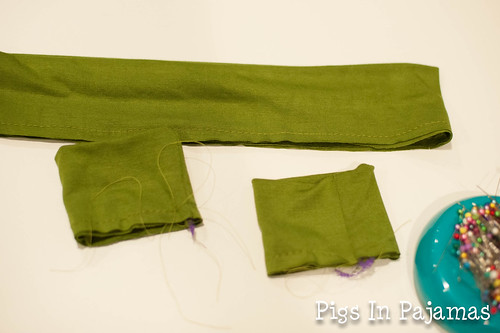 Arm cuffs and waistaband basted