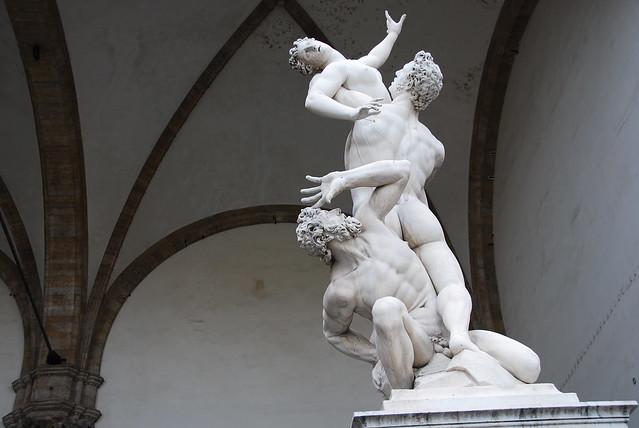 Marble sculpture of the rape of the Sabine woman by Gianbologna (Jean de Boulogne) in the Loggia dei Lanzi in Piazza della Signoria in Florence