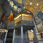 The guard shows the dimension of the magnificent multidome roof - Hagia Sophia