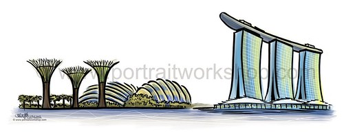 Singapore landmarks digital illustrations - Gardens By The Bay & Marina Bay Sands