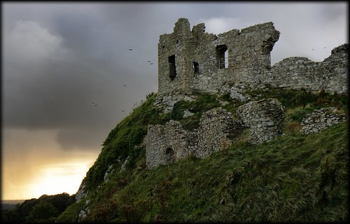 blue ireland orange storm castle nature landscape ruins gray hilltop strongbow