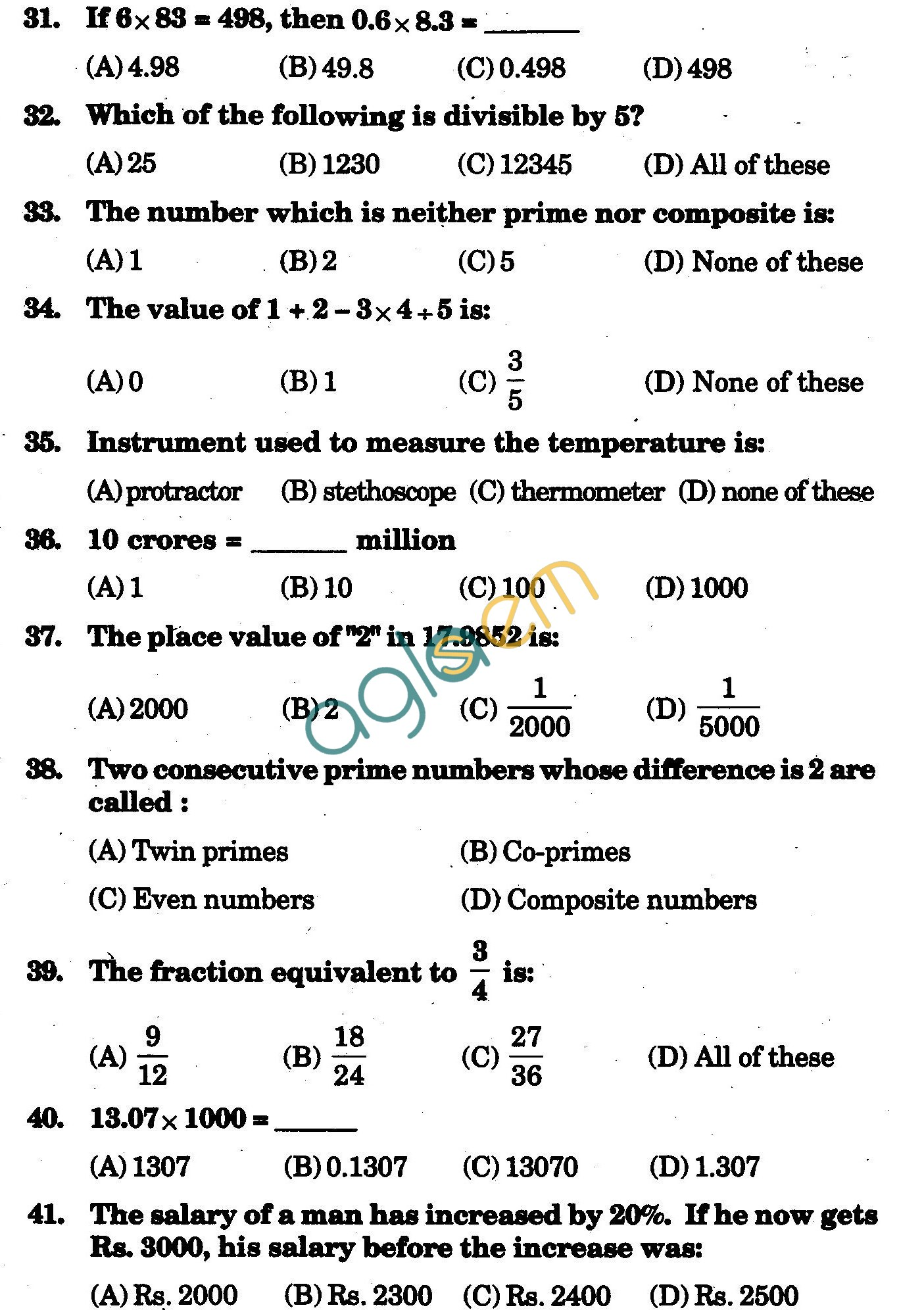 NSTSE 2009 Class V Question Paper with Answers - Mathematics