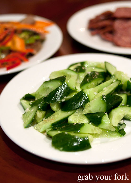 cucumber salad at poplar central asian cuisine crows nest