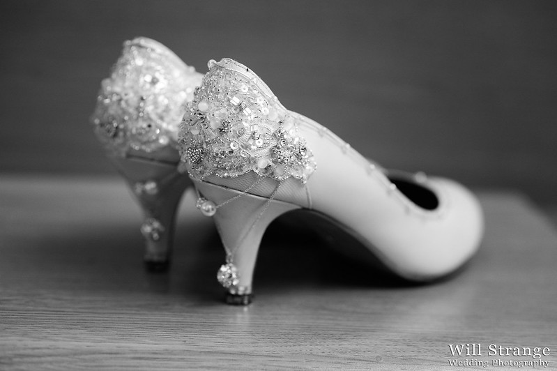 Jemma's wedding shoes, designed by one of her bridesmaids