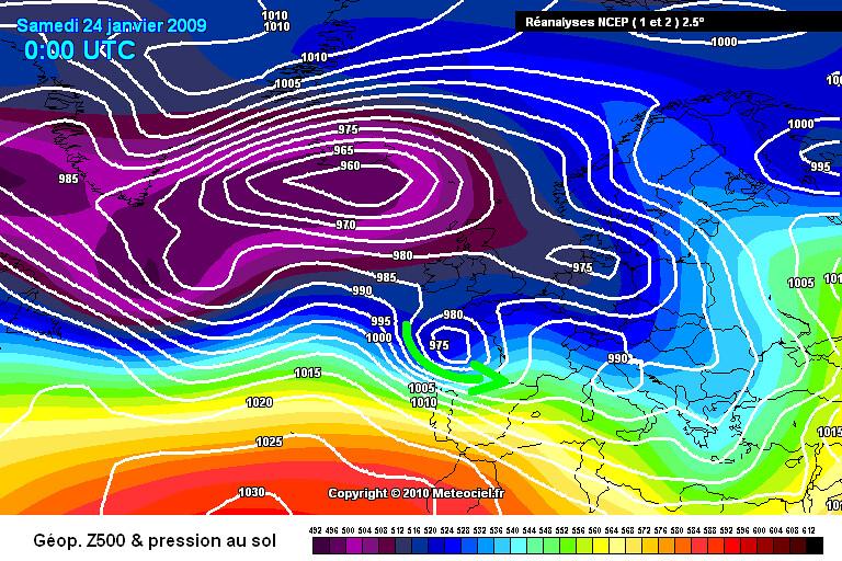 carte de situation lors de la tempête Klaus le 24 janvier 2009 météopassion