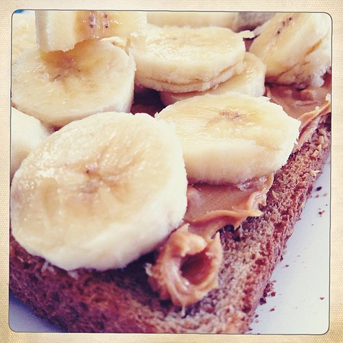 Whole wheat toast, crunchy peanut butter and banana.  Bammmm.  Breakfast done.