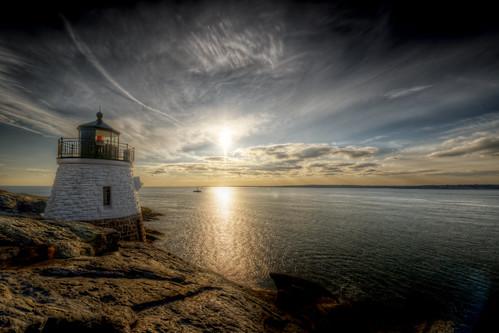 ocean light sunset sun lighthouse seascape water clouds rocks rhodeisland newport shore flare hdr castlehill tonemapped trigphotography frankcgrace d800e