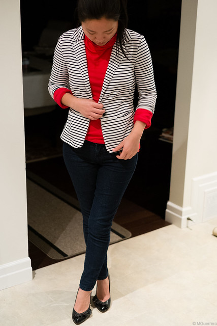 stripes blazer red turtleneck