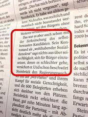 WAZ 10.12.2012 zur Rede von Peer Steinbrück (SPD)