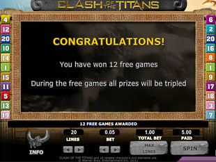 free Clash of the Titans slot Free Games Feature