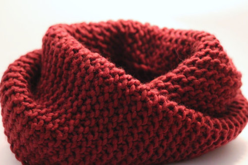 knitted chunky oxblood scarf