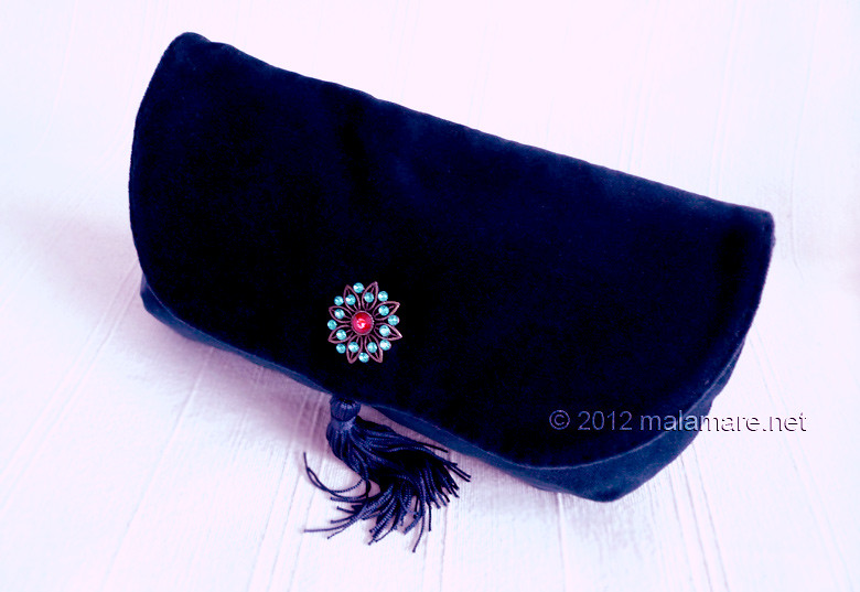 Blue velvet evening clutch bag formal