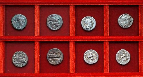 RRC 261 CN.DOMI Domitia bronzes, RRC 262 elephant head denarii branch varieties, Ahala collection, coins of the Roman Republic