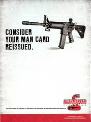 Bushmasters ad showing a gun and black block letters