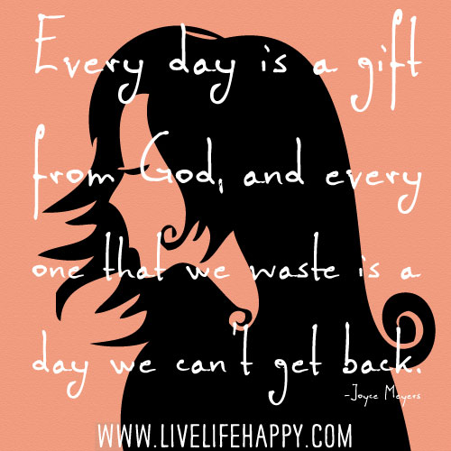 Every day is a gift from God and every one that we waste is a day we can't get back. - Joyce Meyers