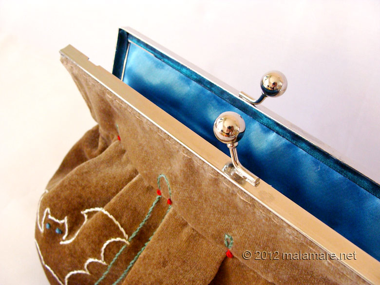 Brown velvet clutch bag with bat hand embroidery and purse frame blue satin inside