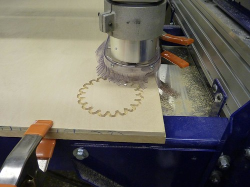 Cutting gears in plywood on the ShopBot