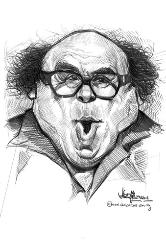 digital caricature sketch of Danny Devito