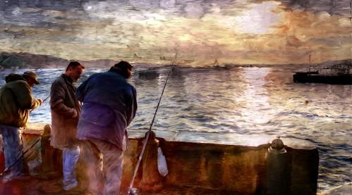 Sun is setting on fisherman