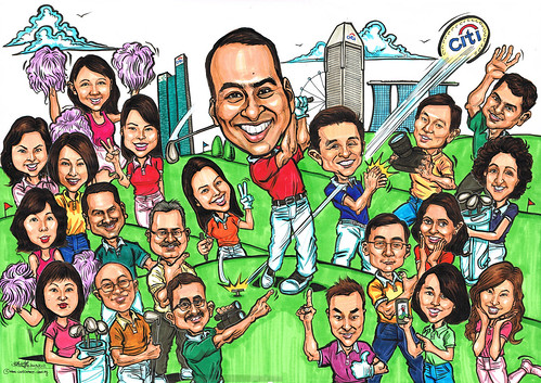 Group caricatures for Citibank