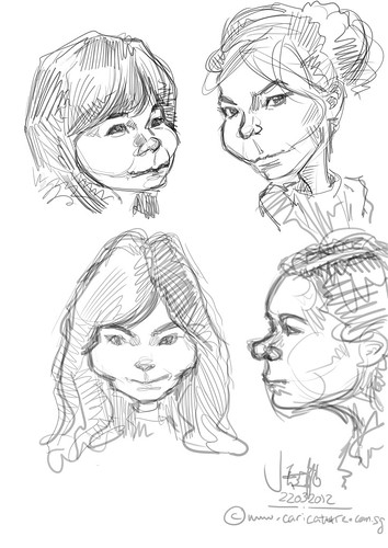 digital caricature sketch study of Bjork